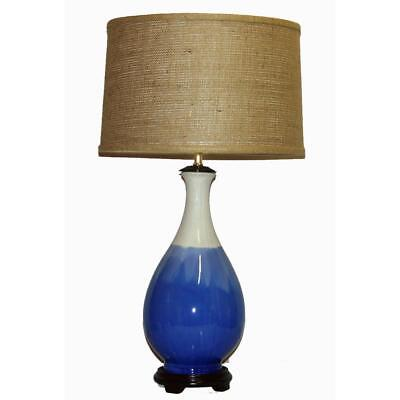 Crown Lighting 1 Light Blue And White Drip Ceramic Table Lamp