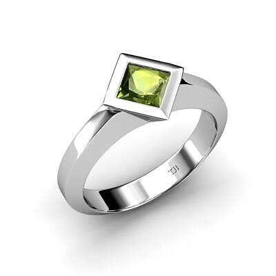 8167124d9 Princess Peridot East-West Women Solitaire Ring 14K White Gold JP:34139