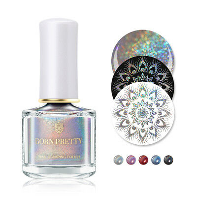 BORN PRETTY Holographic Nail Art Stamping Polish Varnish Silver Nail Polish 6ml