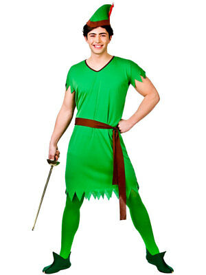 Mens Deluxe Robin Hood Peter Pan Medieval Fancy Dress Costume Adult Outfit + Hat
