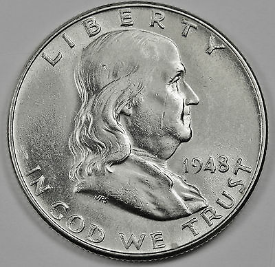 1948-p  Franklin Half Dollar.  Fully Separated Horizontal Bell Line's.BU. (INV.A