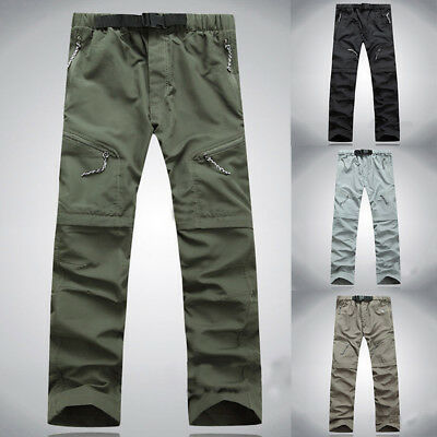 Mens Quick Dry Convertible Zip Off Pants Fishing Hiking Cargo Trousers Outdoor