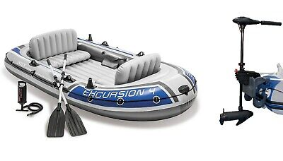 Schlauchboot Excursion 4 Boot + Paddel + Pumpe + Motorhalterung + Motor Intex