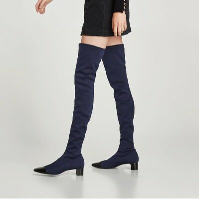Zara Aw17 OVER KNEE Patent TOE HEEL NAVY BLUE BOOTS SIZE 6