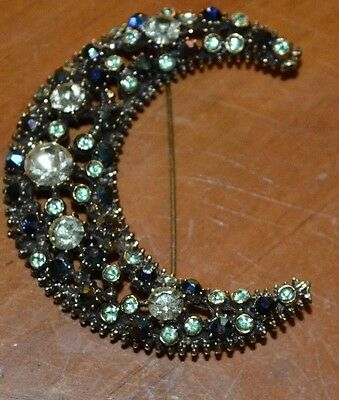 Costume Fashion Jewerly Beautiful Half Moon Broach Pin Lots Of Bright Stones