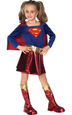 Girls Kids Childs Deluxe Supergirl Fancy Dress Costume Outfit Comic Superhero M