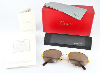 72bea84bd6cd0 Vintage CARTIER Montaigne Sunglasses Gold Finish Semi-Rimless Organic Brown  NOS