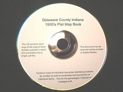 CD ~ 1930's Delaware County Indiana Plat Map Book