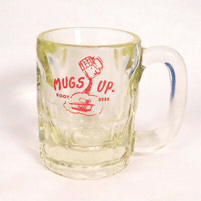 """ MUGS UP ROOT BEER "" :  8 oz. GLASS VINTAGE MUG  NEAT LOGO        ( M-15)"