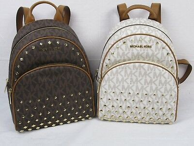 85827c6226df Nwt Michael Kors Abbey Md Studded Backpack Pvc Mk Signature Various Colors