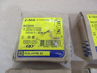 Square D QO3030 30 Amp Tandem Circuit Breaker 120/240V 1P New in Box FREE SHIP