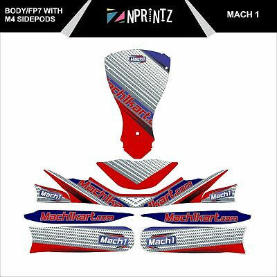 Fp7 /M4 Side Pods  Mach 1  Full Kart Sticker Kit - Karting - Otk - Rotax Iame