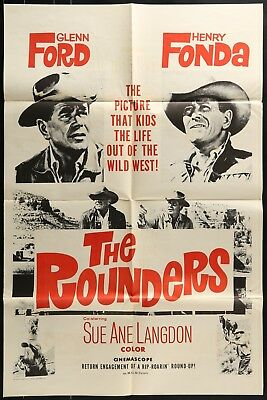 Henry Fonda THE ROUNDERS  Original 1966 1 ONE SHEET MOVIE POSTER 27 x 41