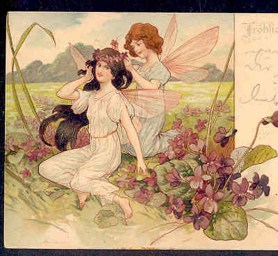 Exquisite..spring Fairy Weaves Violets In Fairy's Hair,chromolithograph,postcard