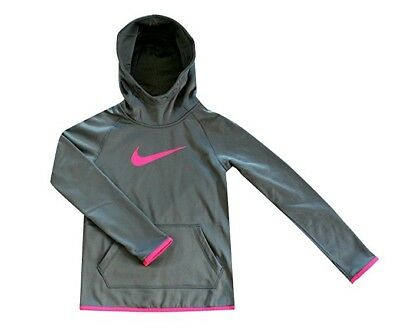 2d4fc2b00d64 Nike Girl s Size Small Therma-Fit Grey Pink Pullover Hoodie Sweatshirt  806016