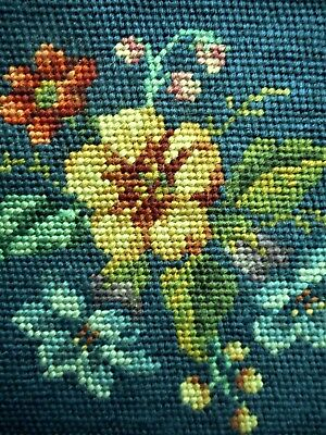 Vintage Antique Floral Chair Seat Pillow Top Finished Completed Wool Needlepoint