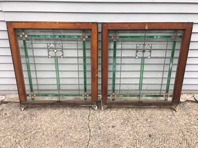 """2 Antique 1920's Chicago Bungalow Style Stained Leaded Glass Windows 32"""" 28"""