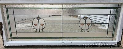 """Large Antique Stained Leaded Glass Transom Window 58"""" by 23"""" Circa 1910"""