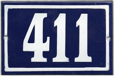 Old blue French house number 411 door gate plate plaque enamel steel metal sign
