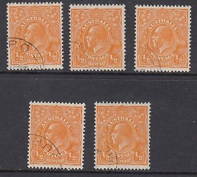 1928 1/2d ORANGE KGV Small Multiple Watermark, 5 CTO stamps, Never Hinged Gum