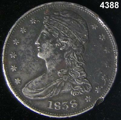1838 Capped Bust Half Dollar Xf Detail 2 Rim Dings #4388