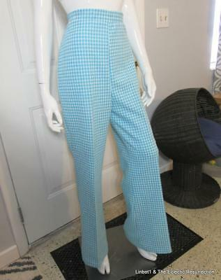Vintage 70s High Waist Bell Bottoms Stretch Groovy Aqua Hounds-tooth Print Large
