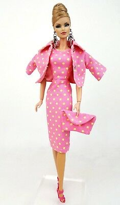 Pink Vintage Repro Dress Outfit Coat Fits Barbie Silkstone Fashion Royalty FR