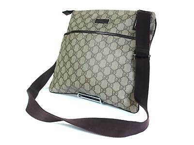 40db30fc0f5 Auth GUCCI GG Web PVC Canvas Leather Brown Cross-Body Shoulder Bag GS1577
