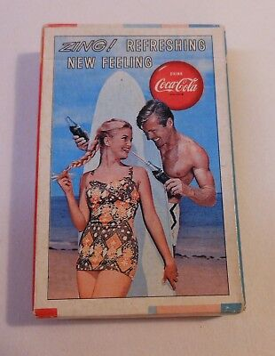 """Vintage Coca Cola 1963 """"Couple and Surf Board""""  Sealed Deck of Playing Cards"""