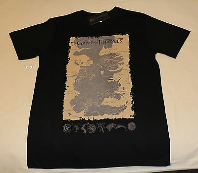HBO Game Of Thrones Mens Map Black Printed Short Sleeve T Shirt Size M New