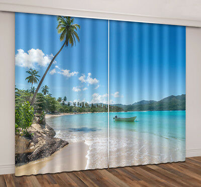3D Tropical Beach Photo Printing Blockout 2 Panels Fabric Drapes Window Curtain