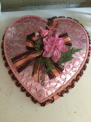 """Vintage Pink & Black Heart Shaped 12"""" Valentine Candy Box lace  1971"""