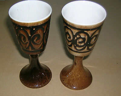 Two Vintage Hand Crafted Iden Rye Pottery Goblets Brown Swirls