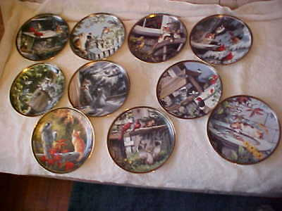 10 Bradex Collector Plates 1~10 Nosy Neighbors Cats, Kittens, & Birds ***3