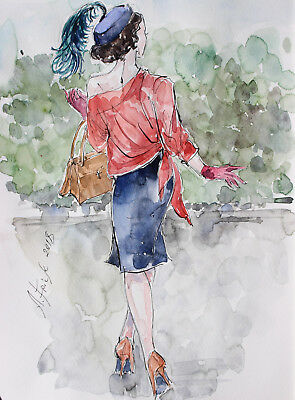 "Aquarell Tusche signiertes Original ""My Fair Lady"" Mode Skizze Retro Entwurf"