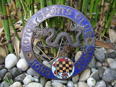 seltene MOTOR SPORTS CLUB HONG KONG AUTOMOBIL CLUB Emaille Plakette Car Badge