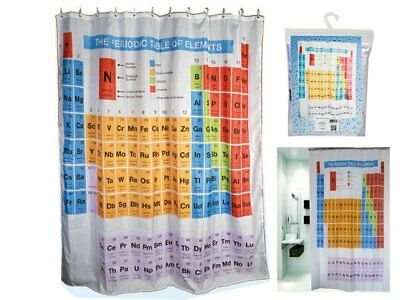Periodic Table Of Elements Shower Curtain Chemistry Bathroom HOOKS Bath Novelty