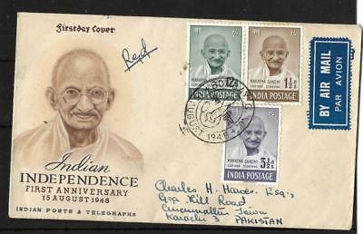 INDIA, KGV1 1/2AS1948 MAHATMA GANDHI, LOW VALUE SET ON