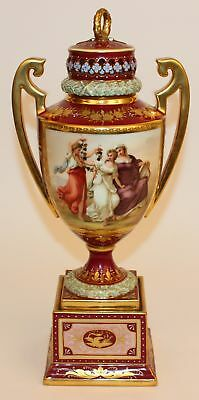 19c ROYAL VIENNA BEEHIVE URN LADIES WITH GRAPES ARTIST SIGNED RIEMER