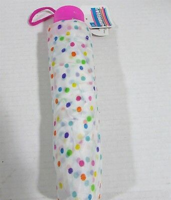 Kids Compact Umbrella Pink Handle White with Mult color polka dots