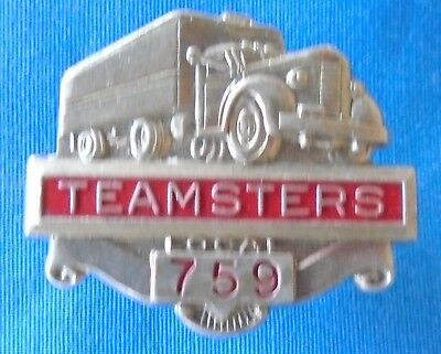 VINTAGE TEAMSTERS LOCAL 759 Truck Semi Driver Union Hat Badge Pin