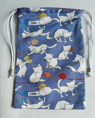 "Lined Kittens Playing With Yarn Bag  5"" x 7 1/2""  tarot cards decks runes"