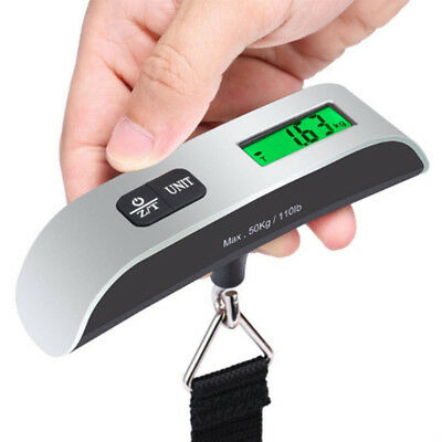 110Lb Portable LCD Digital Hook Hanging Luggage Scale Travel Electronic Weight
