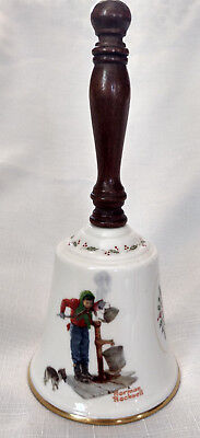 Gorham 1977 Chilling Chore Bell Fine China Norman Rockwell Wood Handle VTG Xmas
