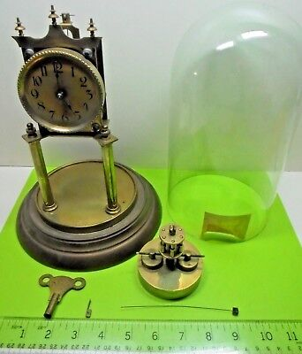 Antique Old Vintage German Torsion Disc Pendulum Anniversary Clock Glass Dome Af