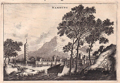 1668 Namhung Nam Hung China Ansicht view Kupferstich antique print Nieuhof