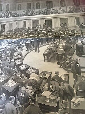 Vintage Harpers Weekly United States Senate in Session George Breck Print 23902