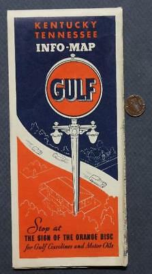 1934 Great Depression Era Gulf Oil Gas station Kentucky & Tennessee road map!