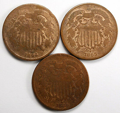 1864, 1865 & 1869 Two Cent 3-Coin Lot