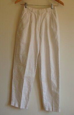 80s high waist white linen crop pants totokaelo no6 mnz baggy pleat trousers 4